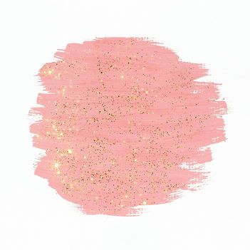 Pink paint with gold glitter on white b