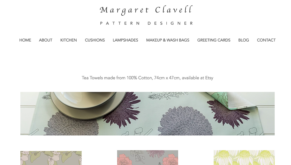 Margaret Clavell Designs' Website Page