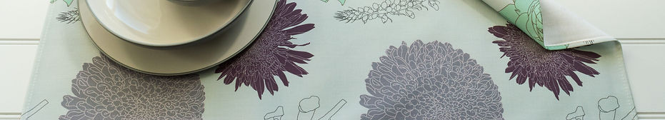 Tea Towel in Foxgloves & Chrysanthemums Mint Design