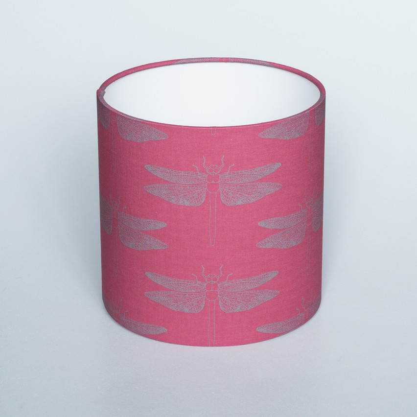 Detailed Dragonfly Rubine Lampshade