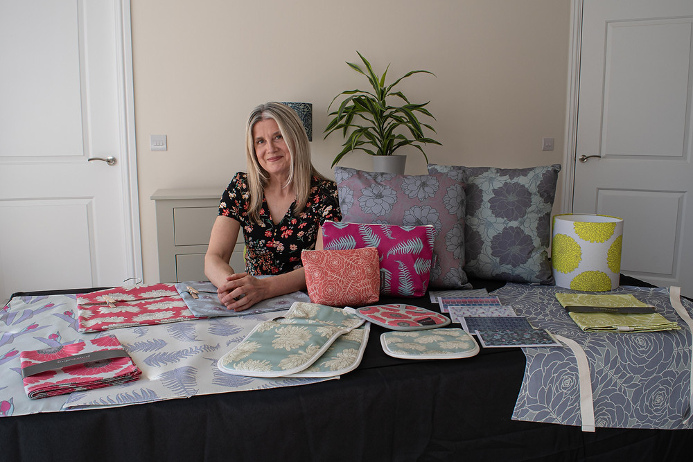 Margaret with her products - Margaret Clavell Designs