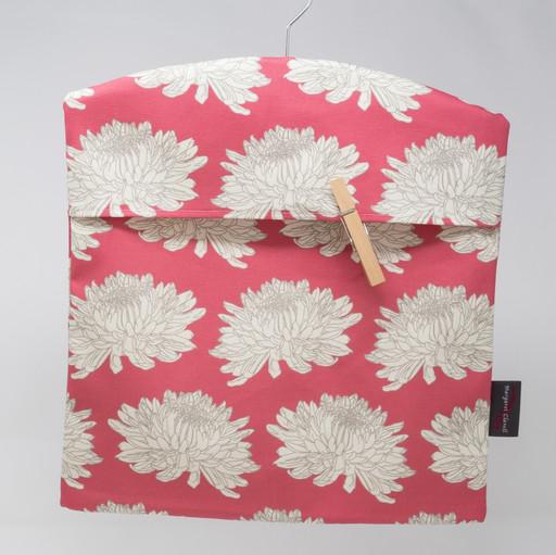 Cream Chrysanthemum Magenta Peg Bag