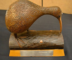 Trophy-kiwi bird on log [award of merit]