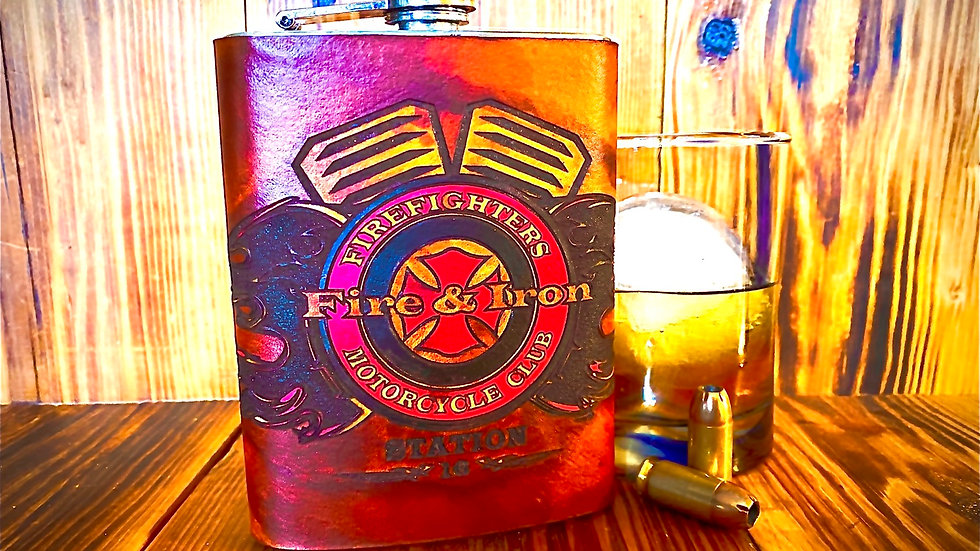 Fire & Iron Whiskey Flask w/ Color