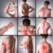 set of nine images showing areas of pain