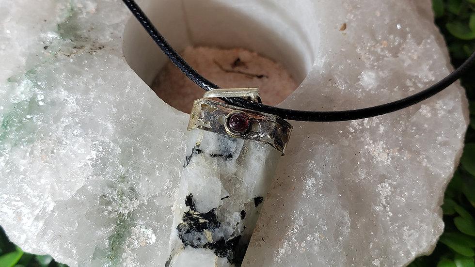Rainbow Moonstone with Garnet Pendant