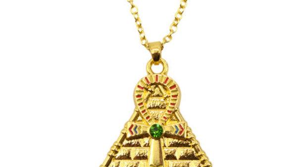 Gold Pyramid Ankh Pendant