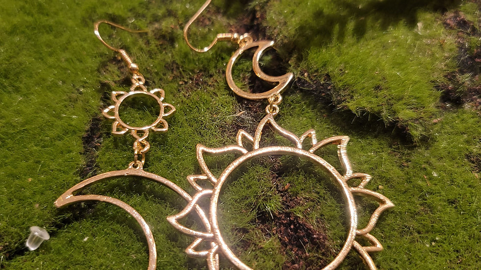 Double moon & Sun earrings