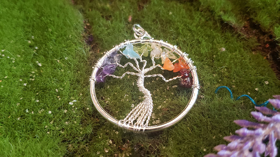Chakra Wired Tree of Life Pendant