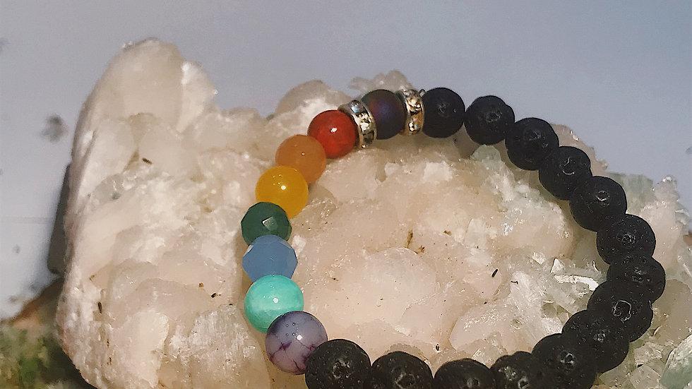 Custom Chakra Lava stone Bracelet