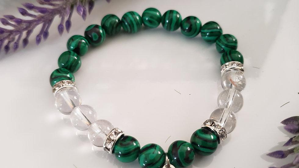 Malachite and Clear Quartz Bracelet