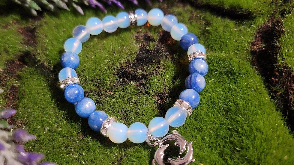 Blue Kyanite & Opal Bracelet