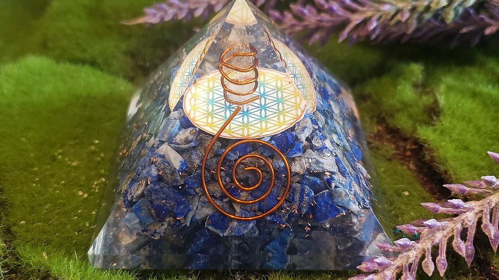 Lapis Orgonite Pyramid Flower of Life