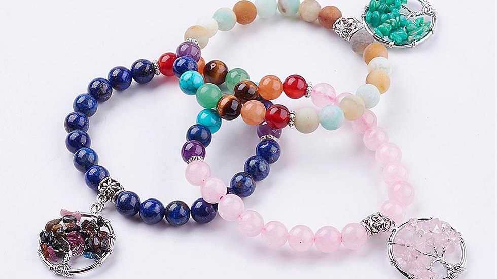 Chakra Tree Crystal Bracelet