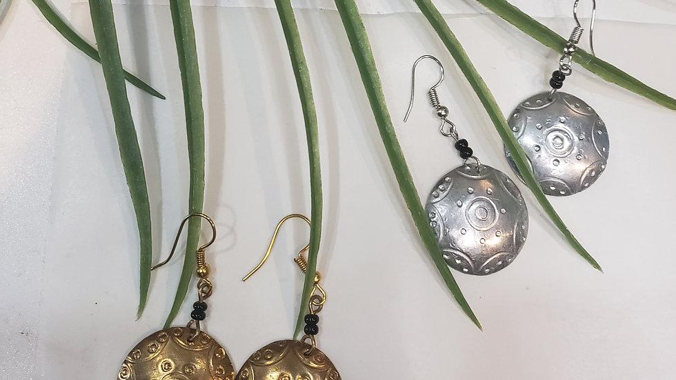 Round Silver & Brass Earrings