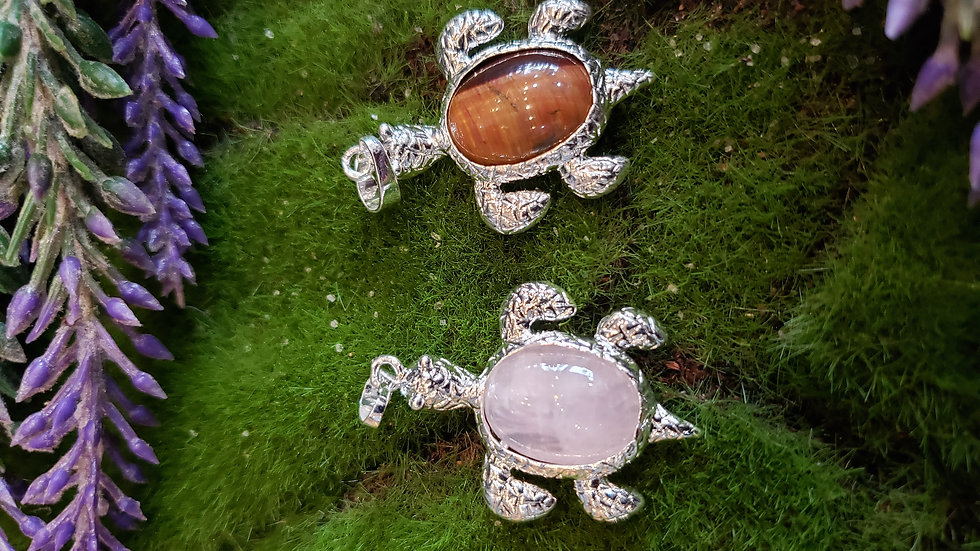 Crystal Turtle Pendant