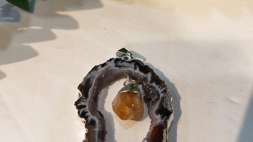 Geode Agate & Citrine Pendant