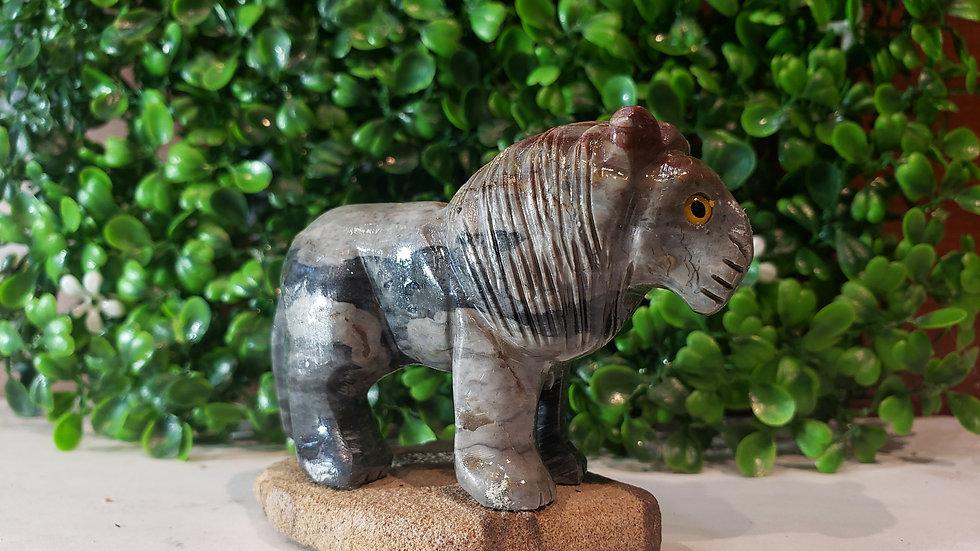 Zebra Jasper Lion with Base