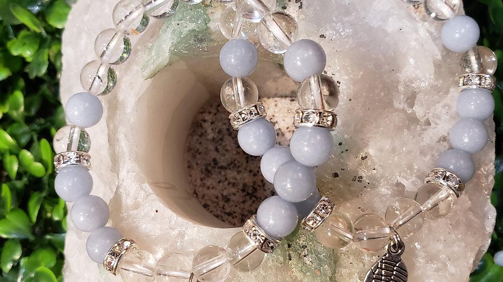 Angelite and Clear Quartz Bracelet