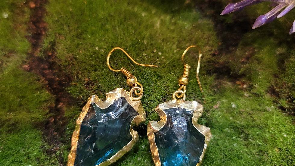 Blue Quartz Arrow Head Earrings