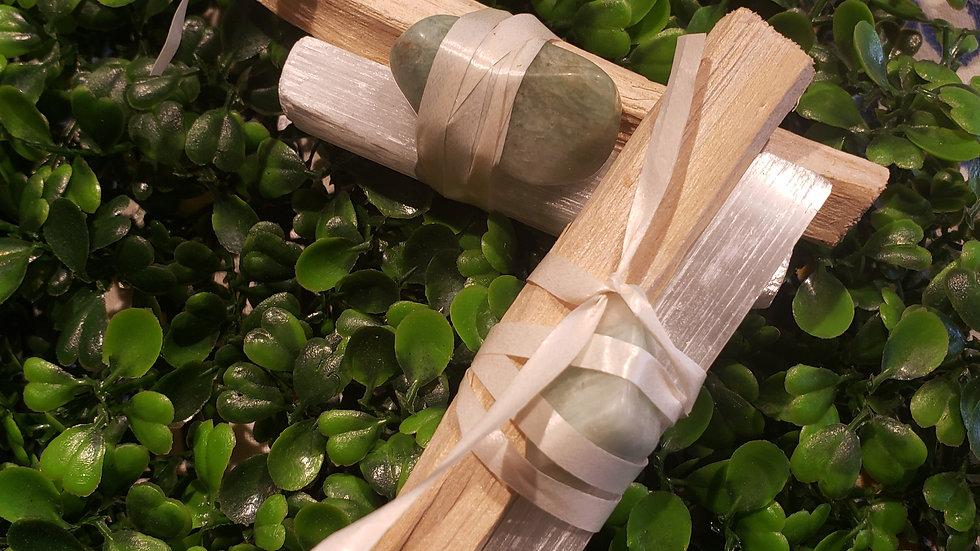 Palo santo Amazonite Selenite Set