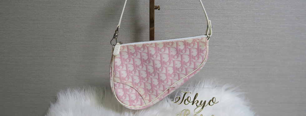 Christian Dior Trotter Monogram Print Saddle Bag Pink & White Pqs