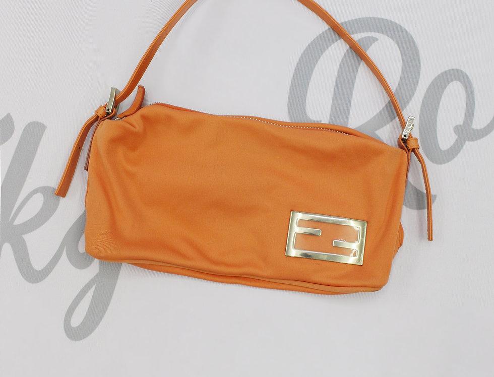 Vintage Fendi Orange Baguette Handbag Metal Logo Mini bag