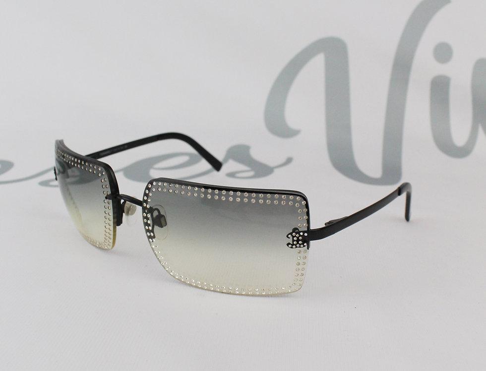 Chanel Black Rhinestone Rimless Sunglasses