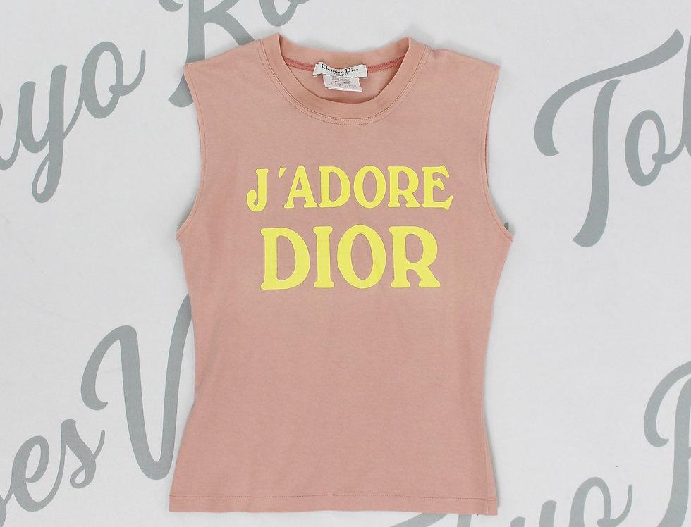 Christian Dior Light Pink J'adore Dior Logo Print Sleeveless Tank Top Jadore