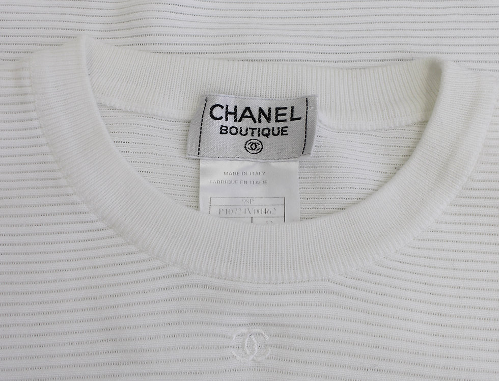 White Chanel Ribbed Knit Top Sleeveless CC Logo