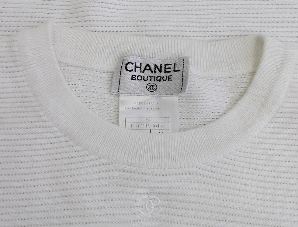 White Chanel Ribbed Knit Top Sleeveless CC Logo
