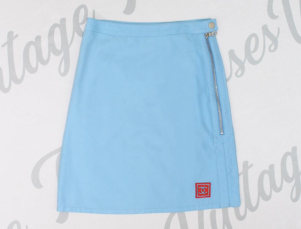 Chanel Sport Blue Skirt Blue CC Logo Runway