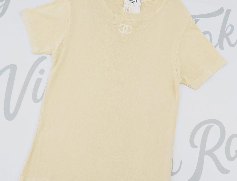 Chanel Beige Nude Oversize T Shirt Short Sleeve CC Logo Chest