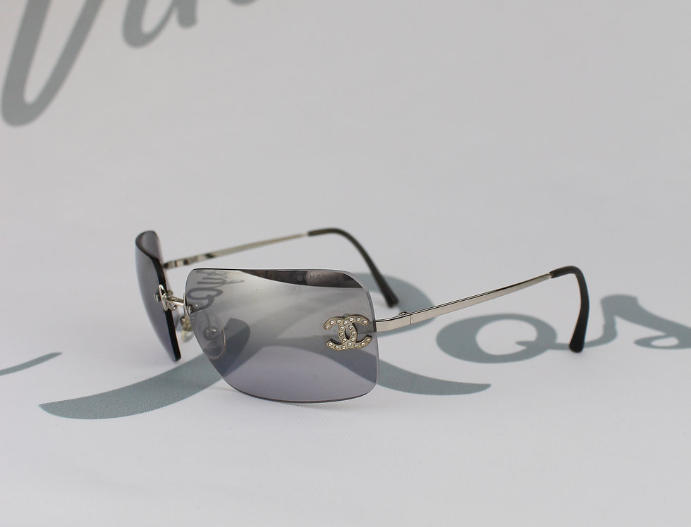 Chanel Mirror Tinted Sunglasses Rhinestone Glasses
