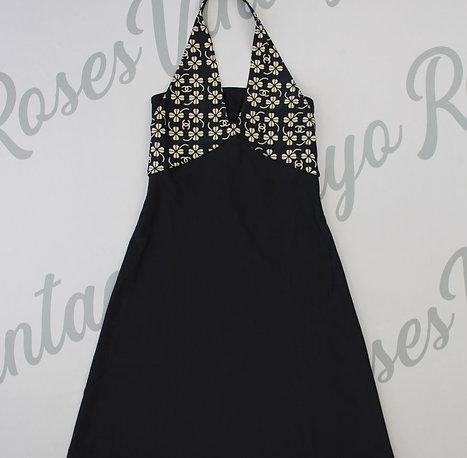 Chanel CC Logo Clover Halter Open Back Mini Dress