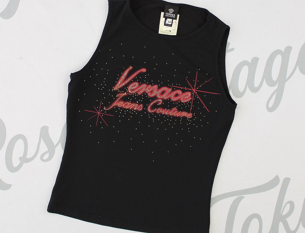 copy of Black Versace Jeans Couture Red Airbrush Tank Top XS