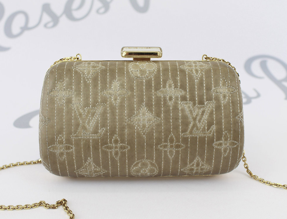 Louis Vuitton Silver Satin Monogram Crossbody Clutch Bag