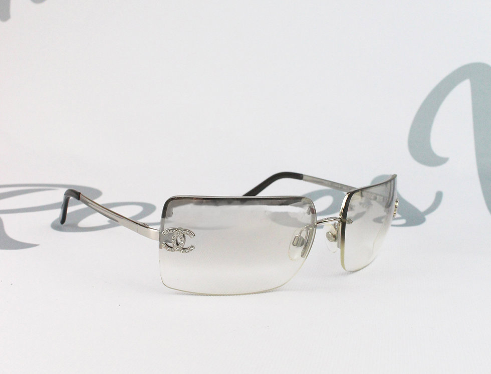 Vintage Chanel Clear Grey Silver Frame Sunglasses Rhinestone Glasses