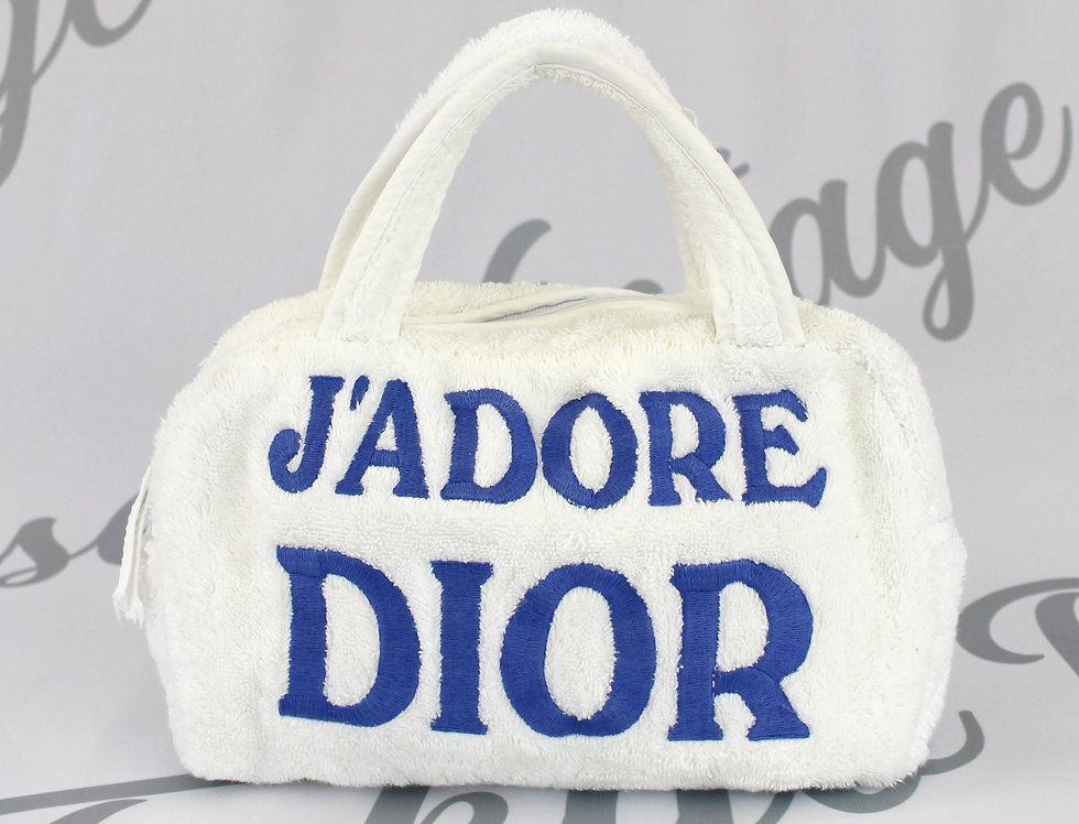 Christian Dior Jadore Dior Blue & White Terry Towel Boston Bag Monogram Trotter