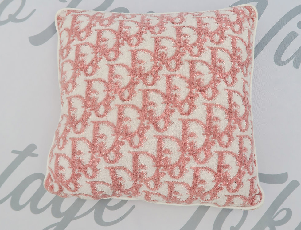 Christian Dior Pink Logo Trotter Print Cushion Terry Cloth Fabric