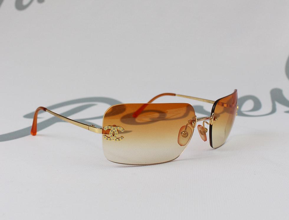 Vintage Chanel Light Orange Tinted Sunglasses Rhinestone Glasses