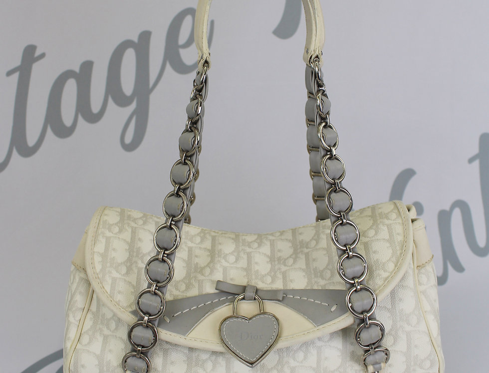 Christian Dior Romantique Heart Handbag White