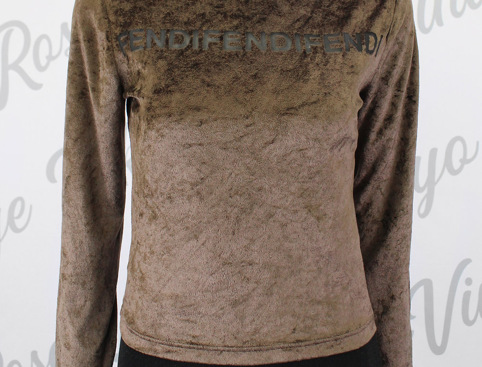 Fendi Brown Velour Long Sleeve Top Mesh Cutout