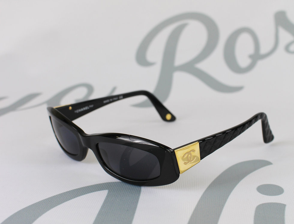 Chanel Black Quilted Sunglasses Gold CC Side