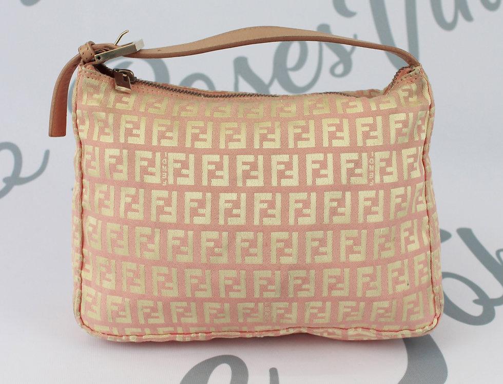 Pink Fendi FF Logo Monogram Zucca Print Mini Bag Gold