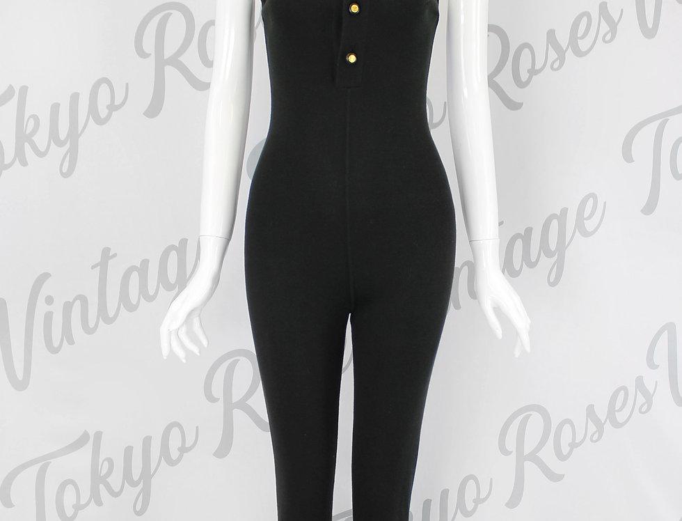 Chanel Black Logo Button Knit Jumpsuit Bodysuit