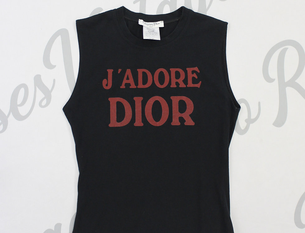 Christian Dior Black & Red Jadore Dior Logo Print Sleeveless Tank Top