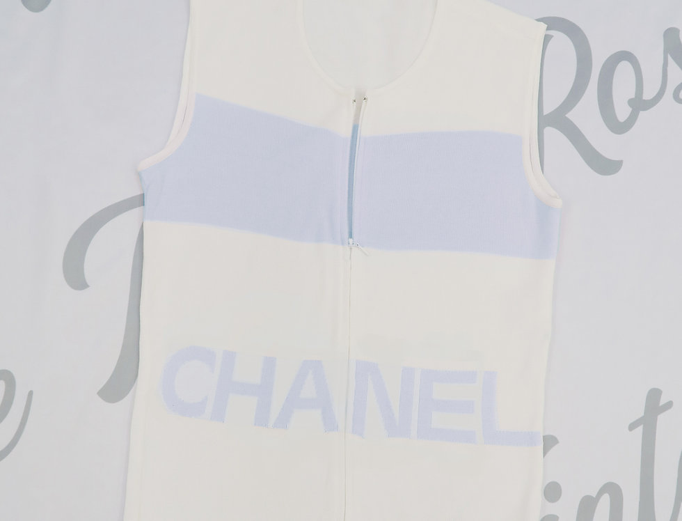 Chanel Blue & White Logo Knit Sleeveless Top Zip Detail 36
