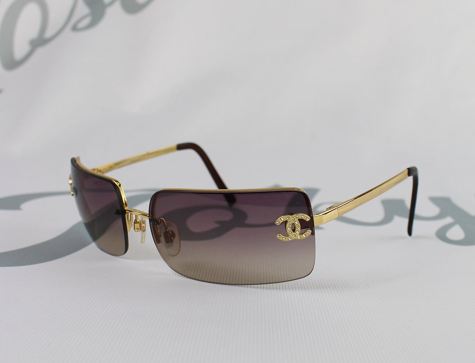 Vintage Chanel Maroon Brown Tinted Sunglasses Rhinestone Glasses Gold