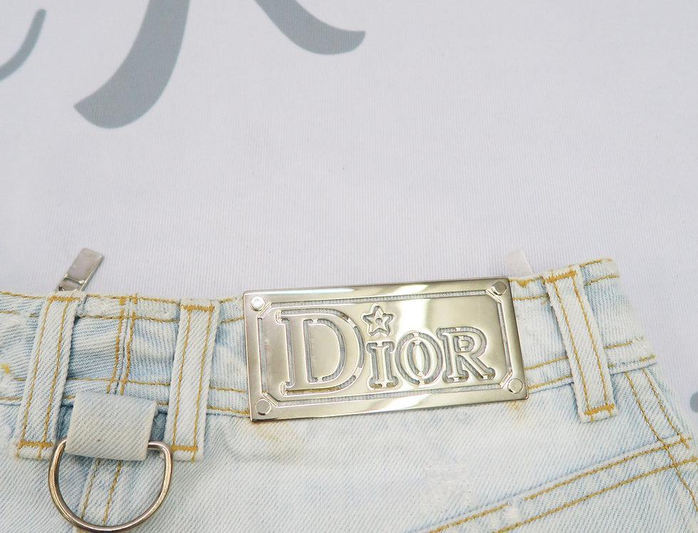 Christian Dior Distressed Logo Metal Plate Mini Skirt